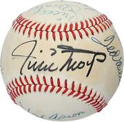 500 Home Run Club Signed Vintage Toned Baseball With 10 Sigs - Psa V14176