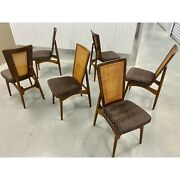Mid Century Modern Cane Back Dining Chairs - Set Of 6