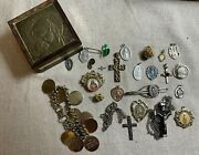 Vintage Lot Of Rosary Religious Crucifix Catholic Medals Box Italy Sterling