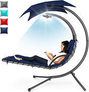 Best Choice Products Hanging Led-lit Curved Chaise Lounge Chair Swing For Backya