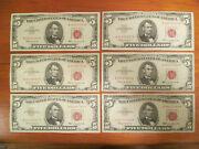 Lot Of 6 - 1963 5 Five Dollar Red Seal U.s. Small Size Notes Circulated Us Bill
