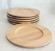 6 Teakwood Charger Plates Natural Wood Dolphin Brand Danish Modern Mid Century