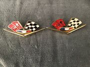 1962 1963 Chevy Impala 24k Gold Plated Front Fender Emblem Flags