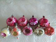 9 Vintage German Ussr Occupied Mercury Glass Mica Indent Christmas Ornaments
