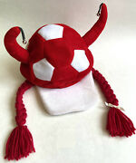 Novelty Ooak Soccer Fan Hat Cap Red And White Ball Head W Horns Bells Braids Used