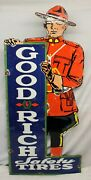 Porcelain Goodrich Safety Tires Sign 15.5x34.5 Automobilia Gas Oil Advertising