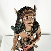 Vintage Native American Sioux Tribe Chief Getting For War Figurine Statue