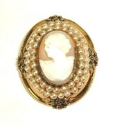 Victorian Inspired Vintage Cameo Brooch Pin Jewelry Broach Faux Pearl Gold Tone