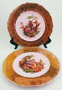 Royal Crown 22kt Gold Pink Salad Dinner Plates Decorated In U.s.a Set Lot Of 2