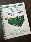 Bush Wacker 7210 6010 Rotary Cutter Pto Tractor Owner Parts Shop Book Manual