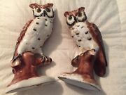 """Pair Of Vintage Porcelain Owl Figurines Made In Italy 9"""" Tall"""