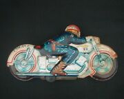 Showa Retro Tin Toy Motorcycle Japanese Made At The Time Police Officer Member