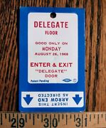 1968 Democratic National Convention Chicago Magnetic Delegate Pass Humphrey