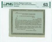 Greece Phalanx Credit Note 1849 Pmg Choice Uncirculated 63 Unique Graded Rare