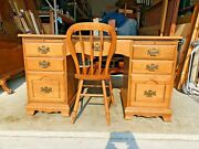 Beautiful Vintage Tell City Mid-century Modern Maple Executive Desk And Chair