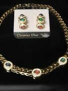 Vintage Christian Dior Gold Plated Gripoix Cabochons Necklace And Earrings Set