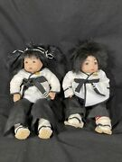 Pair Of Asian Porcelain Dolls Made By Brenda Martial Arts Tae Kwon Do
