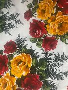 Vintage Retro Unused Fabric Red Yellow Roses Floral Francis Price Rosedale 9.5yd