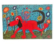 John Sperry Southern Primitive Folk Art Oil Painting Framed Red Circus Dog