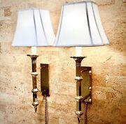 Pair Of Vintage Paul Hanson Brass Wall Mounted Lamps / Sconces W/ Chain Cords