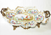 Antique French Porcelain Serving Tray W/ Brass Pedestal And Handles