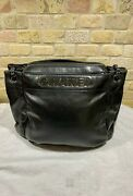 Authentic  Cc Logo Chain Shoulder Bag Leather Black Silver Italy 10508133