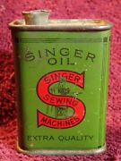 Rare - Antique Singer Sewing Machine Oiler Extra Quality Oil Lubricant Tin Can