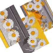 Daisies Dragonfly Set Of 3 Kitchen Dish Tea Towels Cotton Yellow Gray 16x28