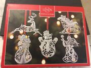 Lenox Set Of 5 Silver Plated Sparkle And Scroll Ornaments - Bnib