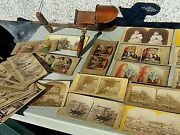 Antique Stereo Viewer And 50 Stereoview Images Some Hand Coloured