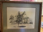 Gryst Mill Smithville New Jersey Printandnbsp Painting By Farg 1970 Framed Gristmill
