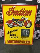 Indian Motorcycle Authorized Sales Service Dealer Sign Indian Chief