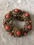 Antique Coral Shoe Clip Filigree Victorian Retro Clothing Jewellery Jewelry Old