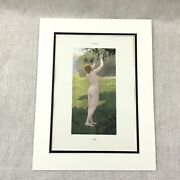 1898 French Print Nude Girl Eve Portrait Garden Of Eden Edouard Bisson Painting