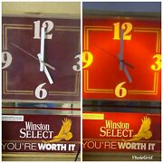 """Vintage Winston Select Light-up Clock """"you're Worth It"""""""