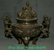 9 Old China Copper Dynasty Palace Dragon Beast Handle Incense Burners Censer