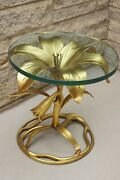 Mid Century Modern Arthur Court Gilded Water Lily End Table 17 By 17 Cast Alum