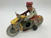 Vintage Marx Mechanical Police Squadron Motorcycle Tin Wind Up Toy Works Great