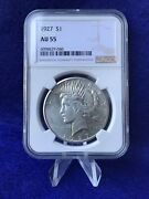 1927 Peace Silver Dollar 1 Ngc Au55 About Uncirculated Blast White