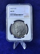1927-s Peace Silver Dollar 1 Ngc Au53 About Uncirculated
