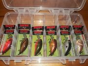 6 Rapala Dt 4 Fishing Lure Crankbait - Different Colors - W/ Tackle Box - New