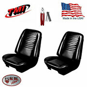 1967 Chevelle Coupe Black Bucket Seat/rear Bench Upholstery And Hog Ring Plier Kit