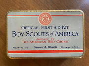 Official First Aid Kit Boy Scouts America - Tin Box Bauer And Black Red Cross 1928