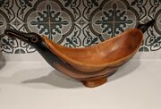 Large Oceania Frigate Sea Bird Feast Bowl Wood Hand Painted Carved Vtg