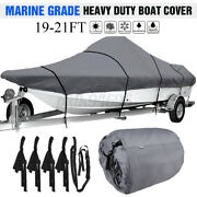 19-21ft Waterproof Boat Cover Marine Grade For V-hull Center Console Boats Gray