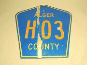 Authentic Retired Alger County H03 Michigan Highway Road Sign Upper Peninsula