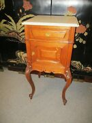 Antique French Oak Marble Top Night Stand Commode