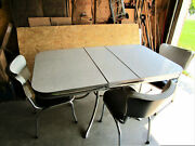 Vintage 1950's Formica Kitchen Table And Chairs Gray And Black Local Pickup On Sale