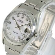 Rolex Vintage Oysterdate 6694 White Mop String Diamond Dial 34mm Manual Winding