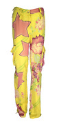 Vtg Christian Dior By Galliano Yellow Silk Cargo Printed Pants Aw03 32 W